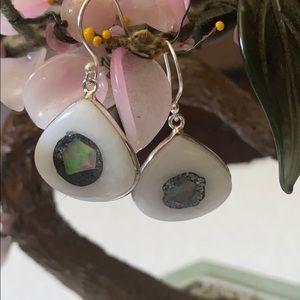 Vintage 925 Ethiopian opal in quartz earrings